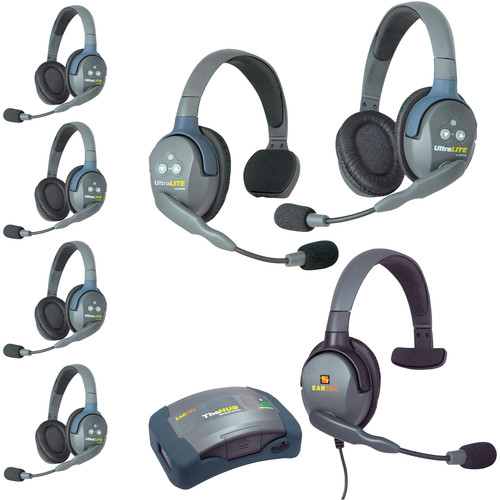 Eartec Ultralite  Hub 7 Person System with Single, 5 Double, 1 Max 4G Single, Batteries, Charger & Case