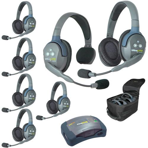 Eartec Ultralite  Hub 7 Person System with 1 Single and 6 Double Headsets, with Batteries, Charger and Case