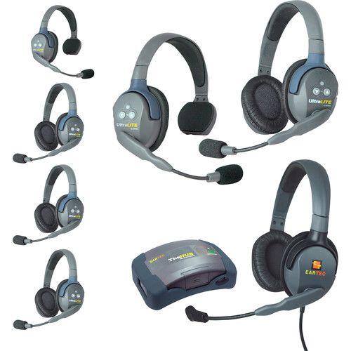 Eartec HUB724MXD UltraLITE 7-Person HUB Intercom System with Max 4G Double Headset (USA)
