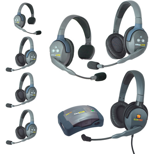 Eartec Ultralite  Hub 7 Person System with 2 Single, 4 Double, 1 Max 4G Double, Batteries, Charger & Case