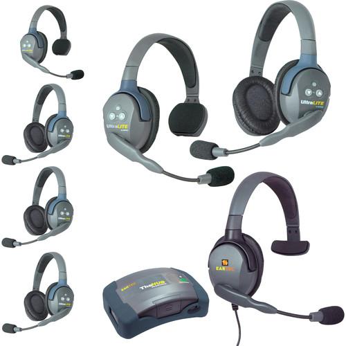Eartec HUB724MXS UltraLITE 7-Person HUB Intercom System with Max 4G Single Headset (USA)