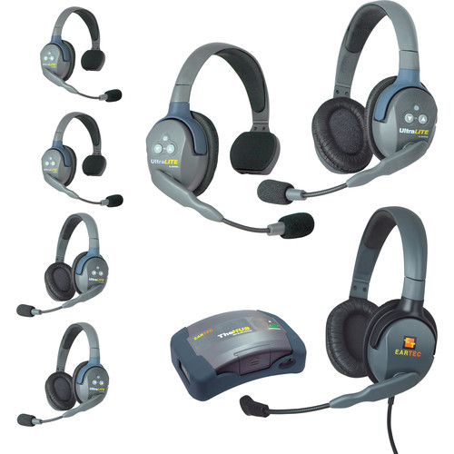 Eartec HUB733MXD UltraLITE 7-Person HUB Intercom System with Max 4G Double Headset (USA)