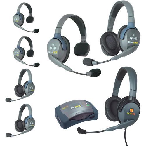 Eartec HUB733MXDAU UltraLITE 7-Person HUB Intercom System with Max 4G Double Headset (AU)