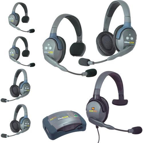 Eartec HUB733MXS UltraLITE 7-Person HUB Intercom System with Max 4G Single Headset (USA)