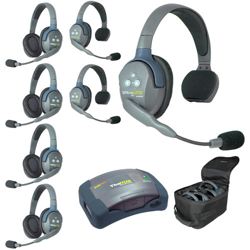 Eartec Ultralite  Hub 7 Person System with 3 Single and 4 Double Headsets, with Batteries, Charger and Case