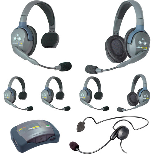 Eartec 7-Person HUB System with One Cyber, Two Double & Four Single Remote Headsets