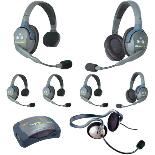 Eartec Ultralite  Hub 7 Person System with 4 Single, 2 Double, 1 Monarch  Headsets, Batteries, Charger&Case