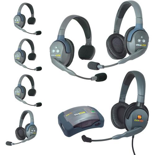 Eartec HUB742MXDAU UltraLITE 7-Person HUB Intercom System with Max 4G Double Headset (AU)