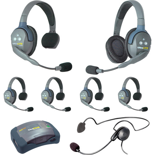 Eartec 7-Person HUB System with One Cyber, One Double & Five Single Remote Headsets