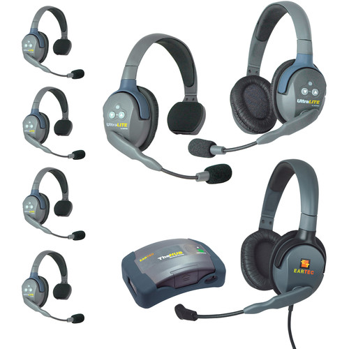 Eartec Ultralite  Hub 7 Person System with 5 Single, 1 Double, 1 Max 4G Double, Batteries, Charger & Case