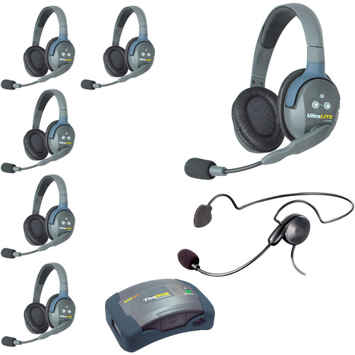 Eartec Ultralite  Hub 7 Person System with 6 Double, 1 Cyber Headset, Batteries, Charger & Case