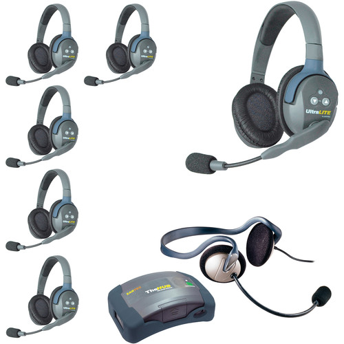 Eartec Ultralite  Hub 7 Person System with 6 Double, 1 Monarch Headsets, Batteries, Charger & Case
