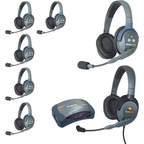 Eartec HUB7DMXD UltraLITE 7-Person HUB Intercom System with Max 4G Double Headset (USA)