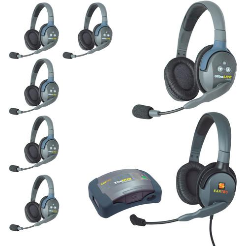 Eartec HUB7DMXDEU UltraLITE 7-Person HUB Intercom System with Max 4G Double Headset (EU)