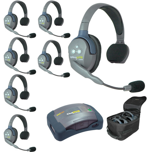 Eartec Ultralite  Hub 7 Person System with 7 Single Headsets, with Batteries, Charger and Case