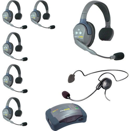 Eartec 7-Person HUB System with One Cyber and Six Single Remote Headsets