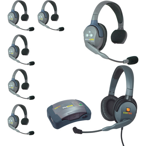 Eartec UltraLITE 7-Person HUB Intercom System with 1 Max4G Double & 6 Single Remote Headsets