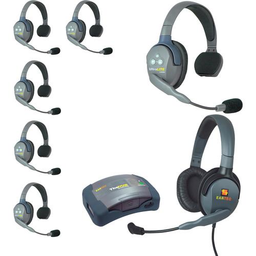 Eartec HUB7SMXDAU UltraLITE 7-Person HUB Intercom System with Max 4G Double Headset (AU)