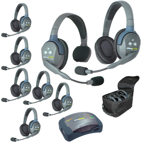 Eartec Ultralite  Hub 8 Person System with 1 Single and 7 Double Headset, with Batteries, Charger and Case