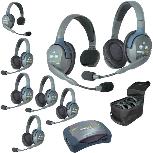 Eartec Ultralite  Hub 8 Person System with 2 Single and 6 Double Headsets, with Batteries, Charger and Case