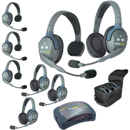 Eartec Ultralite  Hub 8 Person System with 4 Single and 4 Double Headsets, with Batteries, Charger and Case