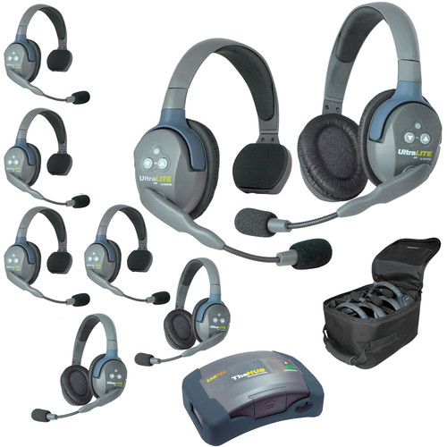 Eartec Ultralite  Hub 8 Person System with 5 Single and 3 Double Headsets, with Batteries, Charger and Case