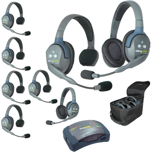Eartec Ultralite  Hub 8 Person System with 6 Single and 2 Double Headset, with Batteries, Charger and Case