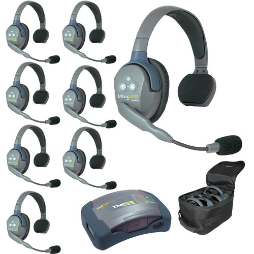 Eartec Ultralite  Hub 8 Person System with 8 Single Headsets, and Batteries, Charger and Case