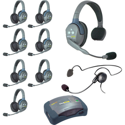 Eartec Ultralite  Hub 9 Person System with 1 Single, 7 Double and 1 Cyber, Batteries, Charger and Case
