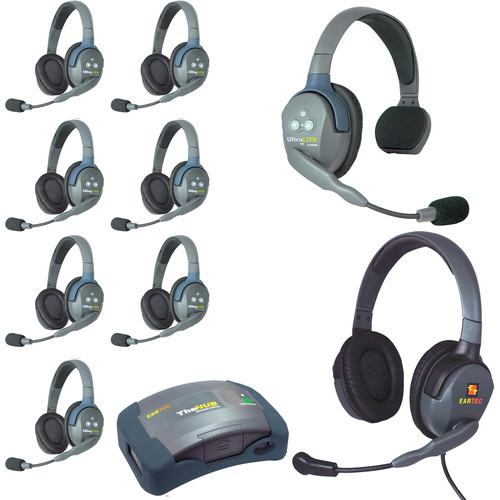 Eartec Ultralite  Hub 9 Person System with 1 Single,7 Double and 1 Max 4G Double,Batteries,Charger and Case