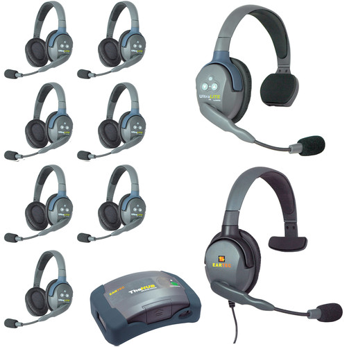Eartec Ultralite  Hub 9 Person System with 1 Single,7 Double and 1 Max 4G Single,Batteries,Charger and Case