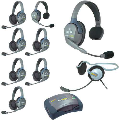 Eartec Ultralite  Hub 9 Person System with 2 Single,6 Double,1 Monarch, and Batteries, Charger and Case