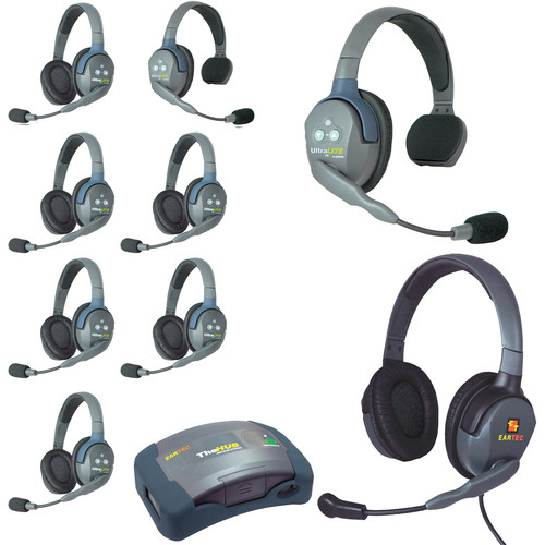 Eartec HUB926MXD UltraLITE 9-Person HUB Intercom System with Max 4G Double Headset (USA)