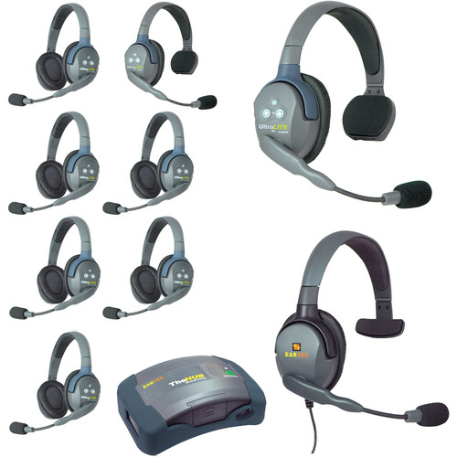 Eartec Ultralite  Hub 9 Person System with 2 Single,6 Double1 Max 4G Single,with Batteries,Charger and Case