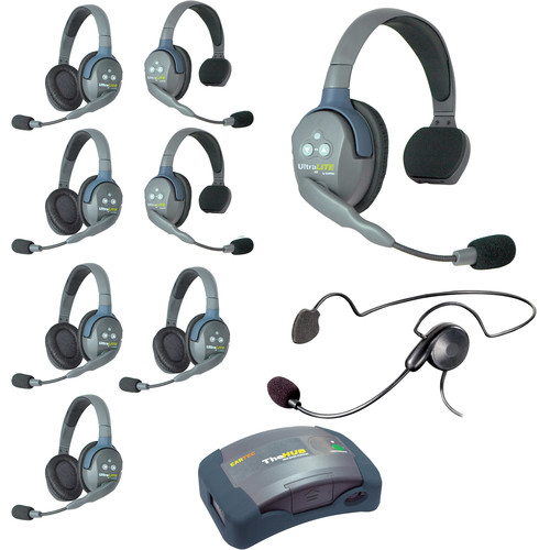 Eartec Ultralite  Hub 9 Person System with 3 Single 5 Double 1 Cyber, and Batteries, Charger and Case