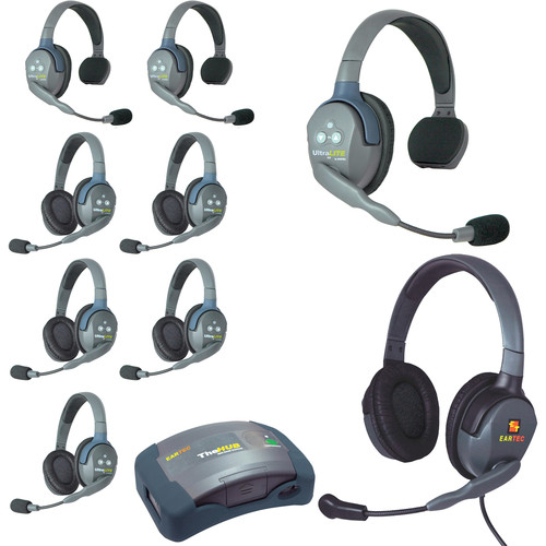 Eartec Ultralite  Hub 9 Person System with 3 Single,5 Double 1 Max 4G Double, Batteries, Charger and Case