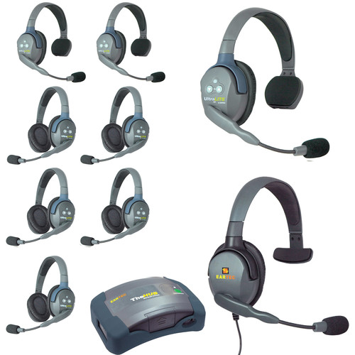 Eartec HUB935MXS UltraLITE 9-Person HUB Intercom System with Max 4G Single Headset (USA)
