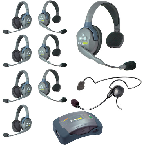 Eartec Ultralite  Hub 9 Person System with 4 Single,4 Double,1 Cyber, and Batteries, Charger and Case