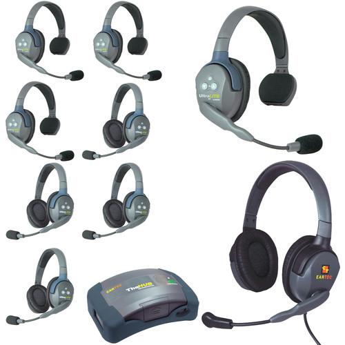 Eartec HUB944MXD UltraLITE 9-Person HUB Intercom System with Max 4G Double Headset (USA)