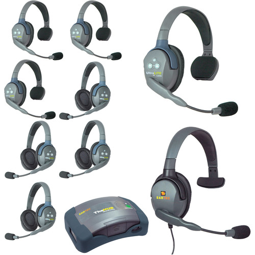 Eartec Ultralite  Hub 9 Person System with 4 Single,4 Double,1 Max 4G Single, Batteries, Charger and Case