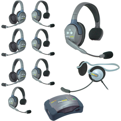 Eartec Ultralite  Hub 9 Person System with 5 Single,3 Double,1 Monarch, and Batteries, Charger and Case