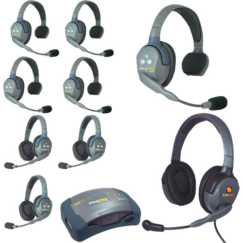 Eartec Ultralite  Hub 9 Person System with 5 Single,3 Double,1 Max 4G Double,Batteries, Charger and Case