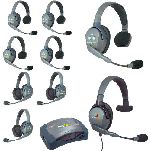 Eartec Ultralite  Hub 9 Person System with 5 Single,3 Double,1 Max 4G Single, Batteries, Charger and Case