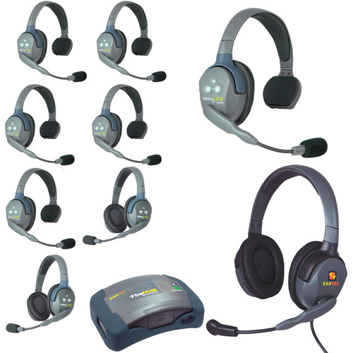 Eartec HUB962MXD UltraLITE 9-Person HUB Intercom System with Max 4G Double Headset (USA)