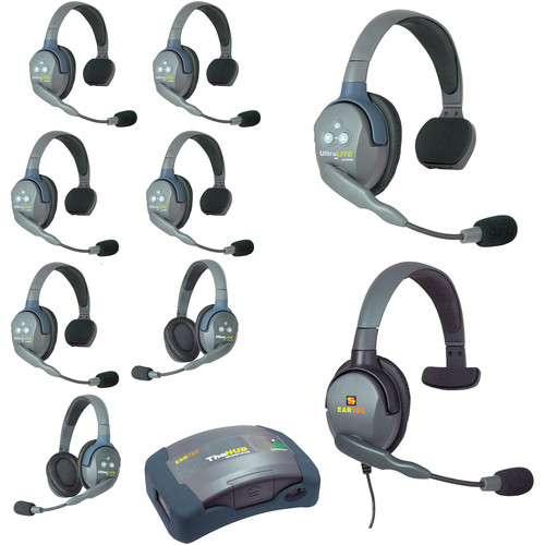 Eartec HUB962MXS UltraLITE 9-Person HUB Intercom System with Max 4G Single Headset (USA)