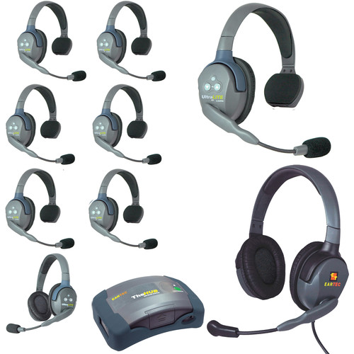 Eartec Ultralite  Hub 9 Person System with 7 Single,1 Double,1 Max 4G Double,and Batteries,Charger and Case