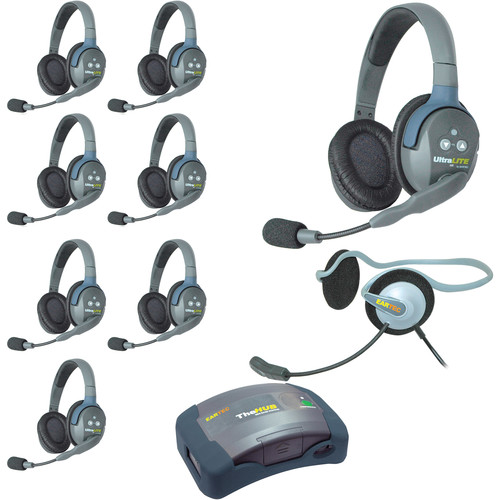 Eartec HUB9DMON UltraLITE 9-Person HUB Intercom System with Monarch Headset (USA)