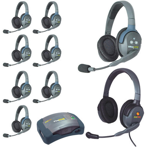 Eartec HUB9DMXD 9-Person Wireless Intercom with 8 Dual-Ear Headsets, 1 Plug-In Max4G Double Headset, and 1 HUB Mini-Base Master