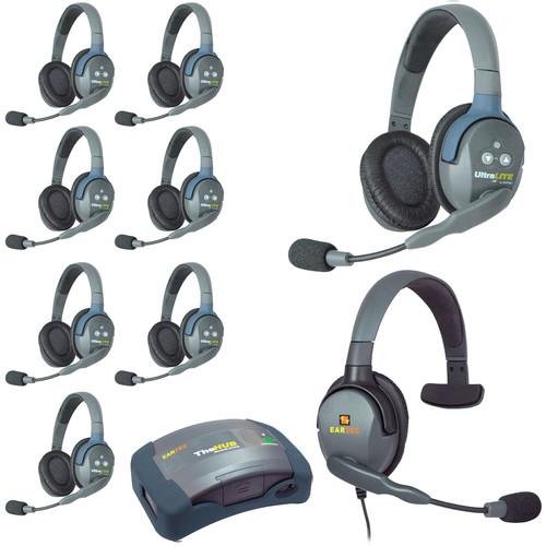 Eartec HUB9DMXS UltraLITE 9-Person HUB Intercom System with Max 4G Single Headset (USA)