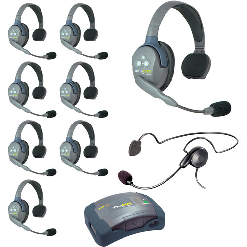 Eartec Ultralite  Hub 9 Person System with 8 Single, 1 Cyber Headset, and Batteries, Charger and Case